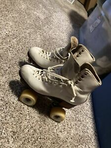 Vintage Harlick Women's Size 7 White Leather Freestyle Skate Boots & New Wheels