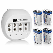 EBL 4x 600mAh 9V Li-ion Rechargeable Batteries + 9-Volt Lithium Battery Charger