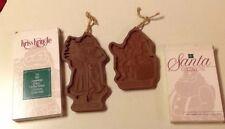 1991 &1992 Longaberger Pottery Christmas Cookie Mold Kriss Kringle & Santa Claus