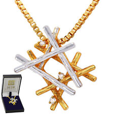 Winter Snowflake Necklace 18K Gold Plated Pendant - Elegant Gift Box