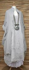 LAGENLOOK LINEN OVERSIZE AMAZING 2 PCS STRIPED DRESS+JACKET***GREY/WHITE**XL-XXL