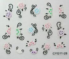 Accessoire ongles: nail art - Stickers autocollants - motifs fleurs arabesques