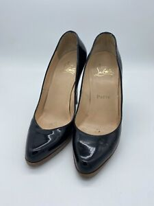 authentic christian louboutin black 120 patent Leather Pumps Size 38