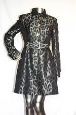 Womans KAREN MILLEN Long Black & Silver Belted Trench Jacket Coat Size US 6 NWOT