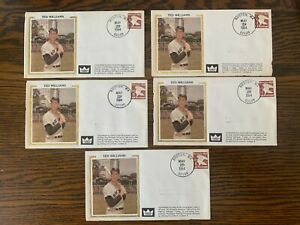 TED WILLIAMS 5 first day issue envelopes 5/29/1984 Retired Number Boston Red Sox