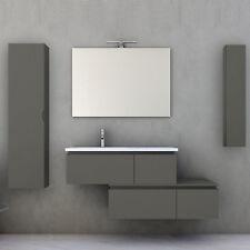 Mobile bagno con cassettiera moderno grigio talpa opaco 100 cm specchio colonna