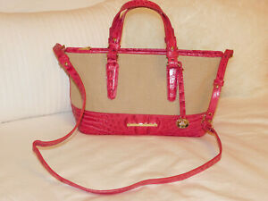 BRAHMIN PINK CROC PRINT SHOULDER PURSE