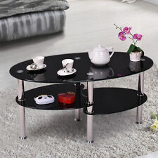 New Modern Tempered Black Glass Oval Side Coffee Table Chrome Finished Legs