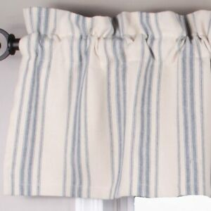 """Grain Sack Stripe Cream and Colonial Blue 72"""" x 15.5"""" Lined Cotton Valance by"""