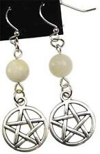 Moonstone Pentagram Earrings w/Surgical Steel French Hooks!