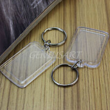 5Pcs Clear Transparent Acrylic Blank Photo Picture Frame Round Key Ring Keychain