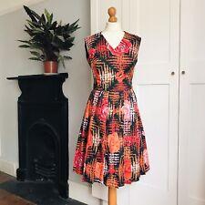 Vintage 70s Ralph Black Pink Orange Red Floral Print Pleated Dress 12