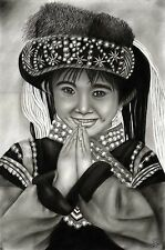"""Thai Charcoal Drawing - Traditional Girl by Local Chiang Mai Artist  - 22"""" x 15"""""""