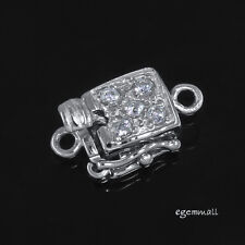 Sterling Silver Clear CZ Crystal One-strand Square Pearl Box Clasp ap.9mm #51546