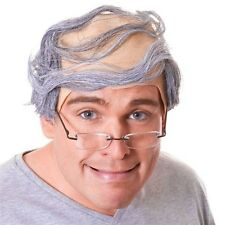 BALDY MAN wig bald comb over GREY SLAPHEAD fancy dress
