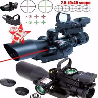 Tactical 2.5-10X40 Rifle Scope Red Laser&Holographic Green laser