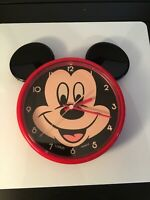 Disney Mickey Mouse Lorus Quartz Battery Operated Ears Wall Clock Red Works