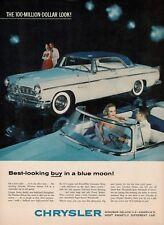 1955 Chrysler Windsor Deluxe Blue White Automobile Car Vtg Print Ad