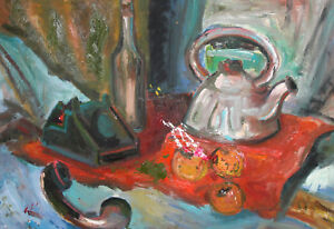 VINTAGE STILL LIFE WITH PHONE, BOTTLE, FRUITS AND TEAPOT OIL PAINTING