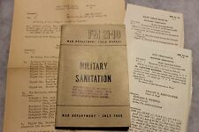 "Original WW2 U.S. War Department Field Book, ""Military Sanitation"", 1945 dated"