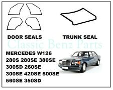 Mercedes W126 Door + Trunk Rubber Weatherstrip Seal Set 5 Pieces