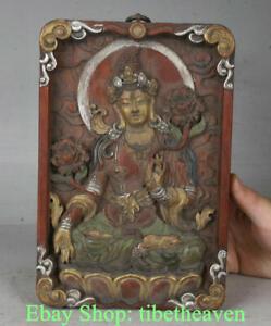"9"" Old Tibet Wood Painting White Tara Spirit of Compassion Buddha Shrines"