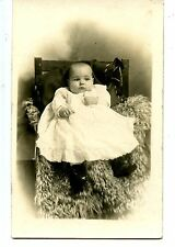 Lloyd-Cute Sweet Bald Baby-Fur Rug-Studio Chair-RPPC-Vintage Real Photo Postcard