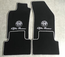 Autoteppich Fußmatten für Alfa Romeo 147 schwarz silbergrau Logo und Schrift Neu