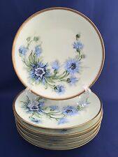 Antique Thomas Sevres Bavarian Hand Painted Blue Floral Six 6 Dessert Plates