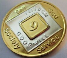 Narcotics Anonymous Gold Plated 9 Year Medallion Token Chip Coin Sobriety clean