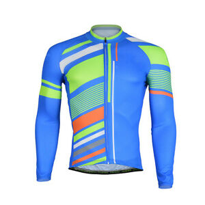 Stripes Long Sleeve Cycle Jersey Men's Bicycle Jersey Cycling Shirt Blue S-5XL