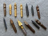 Interesting collection of pen nibs, manuscript scroll, calligraphy, tape etc.