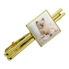 Miradoll Ragdoll Cat Kitten Flowers Square Tie Bar Clip Clasp Silver or Gold