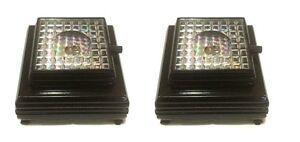 2 PCS 3D Crystal Glass Trophy Laser 3 LED Battery Light Up Stand Base Display #S
