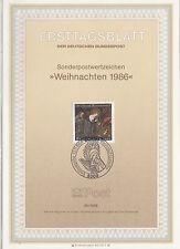 TIMBRE FDC ALLEMAGNE BONN OBL ERSTTAGSBLATT NOEL ADORATION DE L ENFANT  1986
