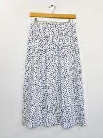Vintage Retro Womens 80s Skirt Polka Dot Geometric Print White Midi fit Size 8