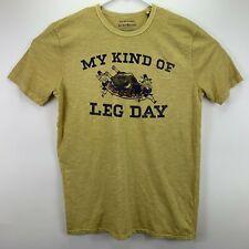 Lucky Brand Mens Thanksgiving Feast Leg Day T-Shirt Yellow M