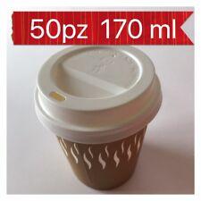 BICCHIERI CARTA PER CAFFE' CON COPERCHIO PER BEVANDE CALDE 170ml 6oZ 50 PZ