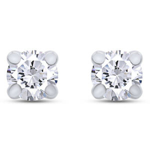 Stud Earrings 10K Solid Gold Solitaire Round Cut Simulated Diamond 1/4 Carat
