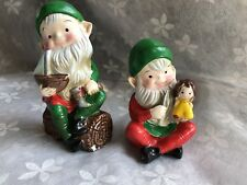 Vintage Elf Firgurines Lot Of Two Pixie On A Log W/ Doll Creepy Elf Knife