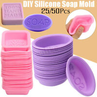 25/50Pcs DIY Handmade Silicone Soap Mold Square Oval Making Baking Cupcake AU