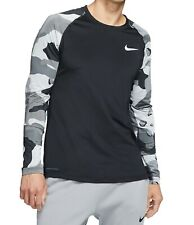 Nike Mens Shirt Black Size Large L Activewear Long Sleeve Camo Dri-Fit $40 #139