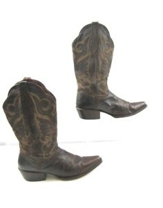 Ladies J.B Dillon Brown Leather Western Cowgirl Boots Size : 8.5 B