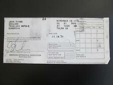 John Banks CZ Winnings Receipt TRANS-AMA 1971 MotoCross Races