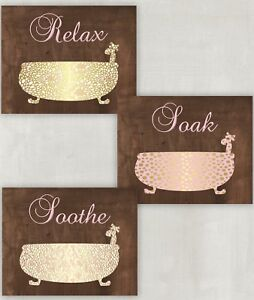 Bathroom Wall Art Picture Prints Bathtub Pink Brown Gold Relax Soak Soothe 8x10