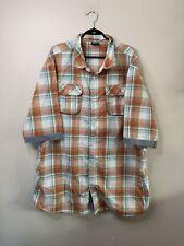 Enyce Sean Combs Men's Size 5XL Blue Orange Plaid Shirt Short Sleeve Button Up