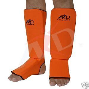 ARD Shin Instep Protectors, Guards Pads Boxing, MMA, Muay Thai Orange S,M, L, XL