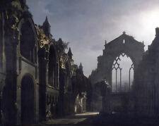 Scotland Church Ruins Gothic Chapel Painting 8x10 Real Canvas Giclee Art Print