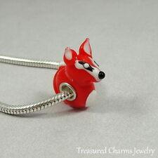 Red Fox Lampwork Glass Large Hole Bead fits European Bracelets