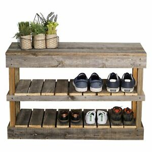 Reclaimed Wood Shoe Bench
